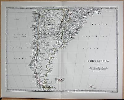 1874  Large Antique Map - Johnston- South America, Southern Sheet, Falklands