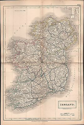 1860 Hall County Map Railways - Ireland