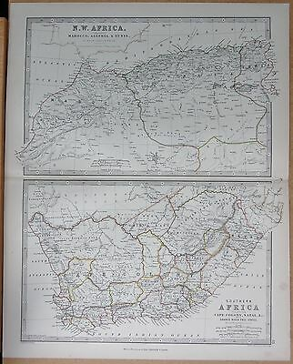 1874  Large Antique Map - Johnston- North West Africa, Southern Africa