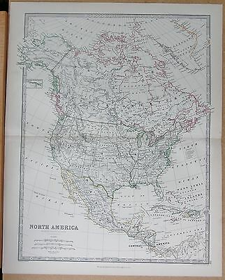 1874  Large Antique Map - Johnston- North America