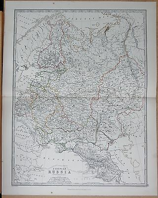 1874  Large Antique Map - Johnston- Russia In Europe