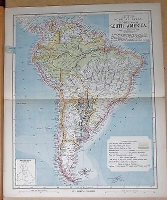 1883  Large Antique Map South America Brazil Peru Patagonia