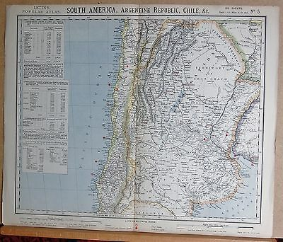 1883  Large Antique Map South America Argentine Republic Chile