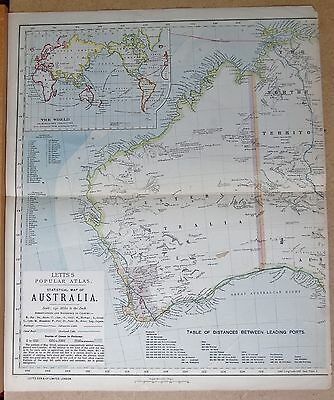 1883  Large Antique Statistical Map Of Australia, 2 Sheets