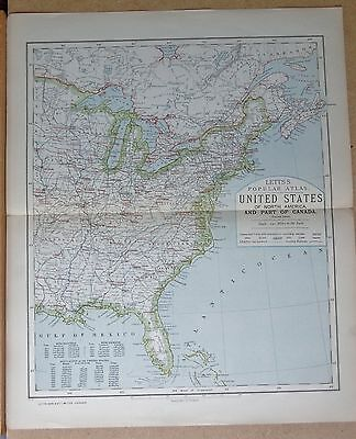 1883  Large Antique Map United States Eastern States