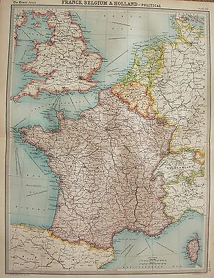 1920  Large  Map : France Belgium And Holland Political Map