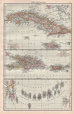 1896  Large Antique  Map : The Antilles Hayti Puertorico Lesser Antilles