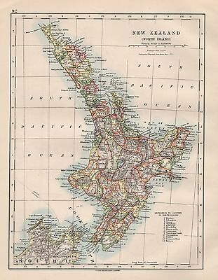 1920 Vintage Map- New Zealand, North Island