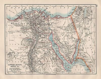 1920 VINTAGE MAP- LOWER EGYPT, SINAI, &c