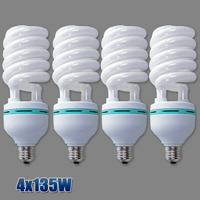 4X135W Daylight E27 Bulb Photo Studio Light Compact Fluorescent Lamp 5500K Globe