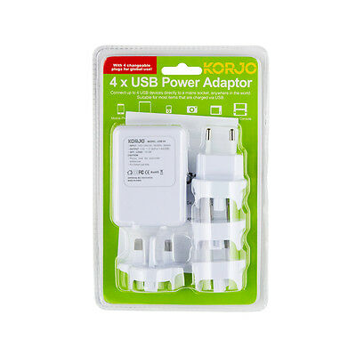 Korjo 4-Port USB World Travel Power Adaptor Charger Plug AU NZ UK EU US JAPAN