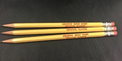 Vintage Pencils Meadow Gold Dairy Decatur Illinois Advertising Sharpened