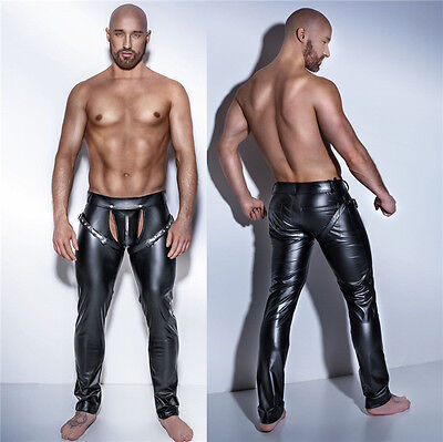 Sexy Men's Clubwear Skinny Slim Tight Trousers Elastic Pants patent Leather Show