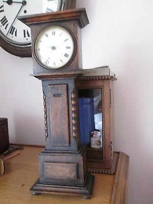 Antique oak working miniature longcase clock and integral Victorian thermometer