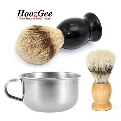 Handle Men's Wooden Beard Shaving Brushes and Stainless Steel Mugs Cup Bowl Set