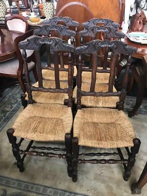 Set Of Six Antique French Oak Dining Chairs With Rush Seats And Squabs