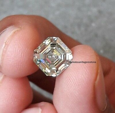 Genuine 2.85 CT Asscher Cut Off White Green Loose Moissanite 8.30 mm VS1