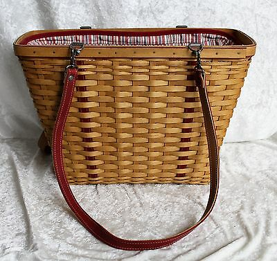 Longaberger Basket Purse w/Red Leather Weave & Straps