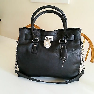 MICHAEL KORS HAMILTON Large Black Leather  Satchel Tote Bag/Handbag RRP $475