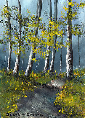 Stormy Woods ACEO Original Landscape ACEO Acrylic Painting Realistic Art