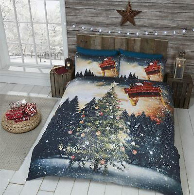 Northern Lights Winter Scene Christmas Duvet Cover Single Double King