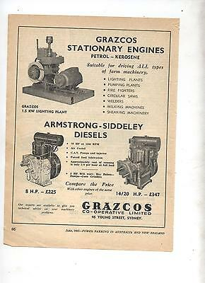 Grazcos Armstrong Siddeley Stationary Engine Advertisement from 1953 Magazine