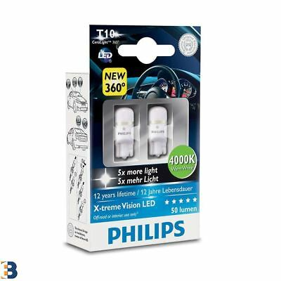 Philips X-tremeVision 360 LED W5W T10 501 4000K Warm White Bulbs Twin Pack