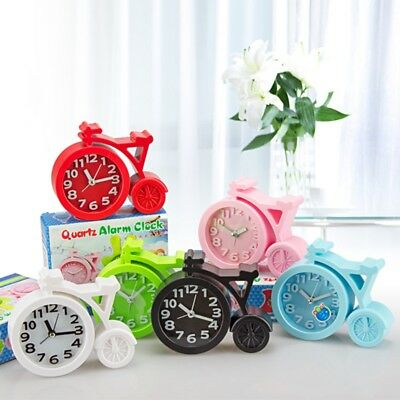 Candy Color Alarm Clock Bicycle Bike Decor Table Bedside Quartz Analog Dial Desk