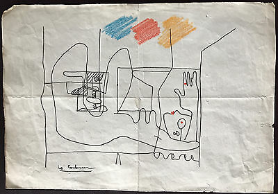 Le Corbusier Original Rare Pen Ink Hand Signed Drawing Abstract Nude