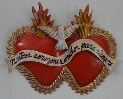 Metal wall art LARGE painted tin Twin Sacred Heart Flaming Corazon - Mexican art