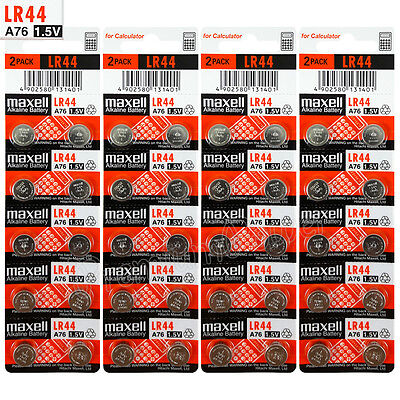 40 x Maxell LR44 Alkaline batteries 1.5V A76 AG13 303 357 L1154 SR44 Pack of 2