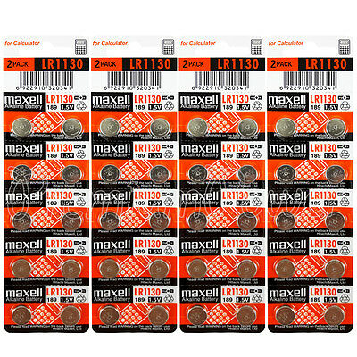 40 x Maxell LR1130 Alkaline batteries 1.5V LR54 189 389 SR1130SW AG10 Pack of 2