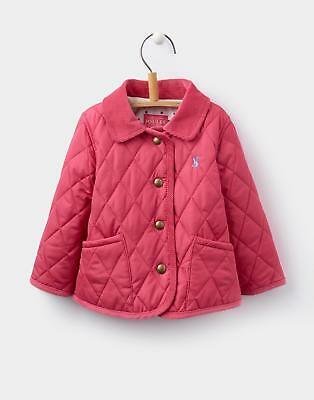 Joules 124440 Baby Girls Mabel Quilted Coat with Floral Lining in Warm Pink