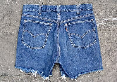 VTG 60s LEVI'S 606 BIG E ORANGE TAB INDIGO DENIM CUT OFF JEAN SHORTS USA W31
