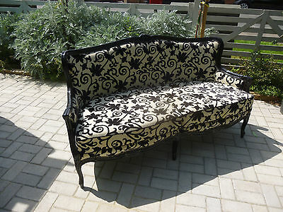 French Chic  Opulent Regency Style  Small Sofa in Black & Cream