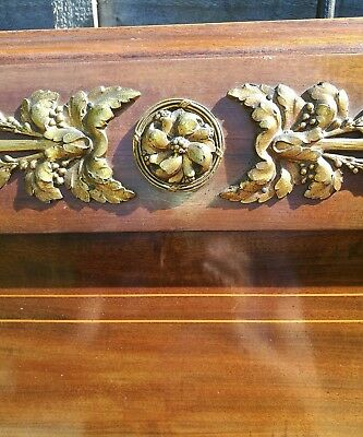 Double ANTIQUE FRENCH WALNUT BED with Brass Ormoluu mounts.