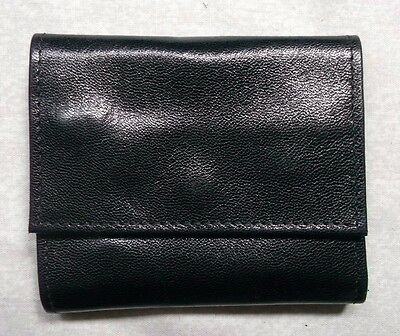 BLACK LEATHER VINTAGE JEWELLERY ROLL WALLET 1980s 1990s MADE IN ENGLAND
