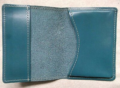 FINE LEATHER TURQUOISE VINTAGE BUSINESS CARD WALLET 1980s 1990s MADE IN ENGLAND