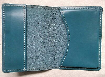 Wallet Vintage Leather TURQUOISE BUSINESS CARD 1980s 1990s MADE IN ENGLAND