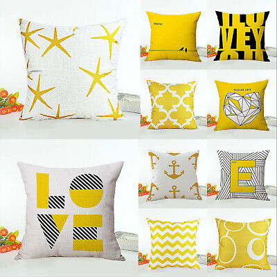Throw Pillow Case Mustard Yellow Heavy Weight Fabric Cushion Cover Decorative