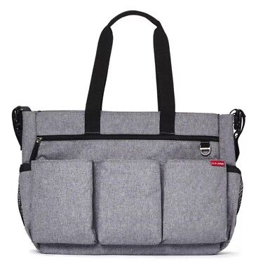 Skip Hop Duo Double Stroller Signature Baby Diaper Bag Heather Gray