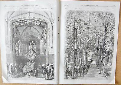 1857 Antique Print -Funeral Of The Late Duke Of Rutland