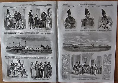 1857 Antique Print -Sketches In The Persian Gulf