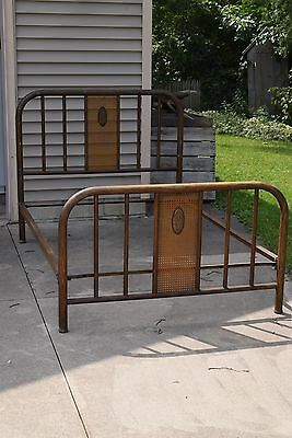 Antique Iron and Metal Bed Painted Wood Grain Full Double Cane Panels Original