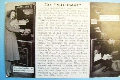 """Vintage 1940s Postcard """"The Mailomat"""" Automated Vender by Pitney-Bowes - Unused"""