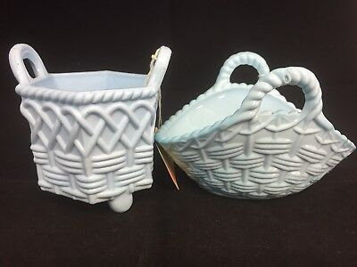 Antique Victorian Turquoise Sowerby Blue Milk Glass Spill Vase And Basket