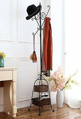 Victorian Style Freestanding Metal Scrollwork Coat Rack with 2 Storage Baskets,