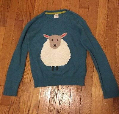 Mini Boden Teal Blue Sweater Ivory CURLY HAIR SHEEP Pink Ears Girls Size 9/10