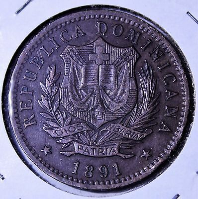 1891 Dominican Republic 10 Centesimos de Franco - No Reserve - KM9