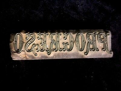 Stunning Antique Brass And Wood Printing Block , Advertising Printers  Procreso